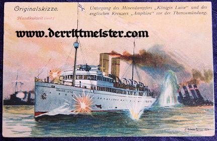COLOR POSTCARD - S.M.S. KÖNIGIN LUISE - BATTLE - Imperial German Military Antiques Sale