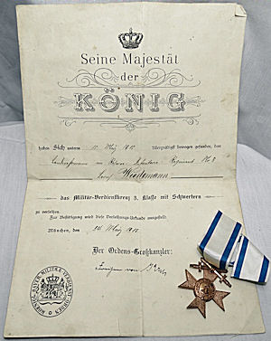 BAVARIA - MILITARY MERIT CROSS 3rd CLASS WITH SWORDS DECORATION AND AWARD DOCUMENT - Imperial German Military Antiques Sale