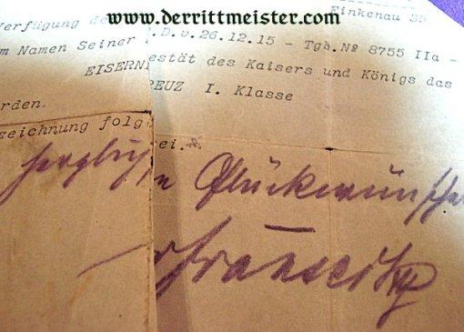 GERMANY - AWARD DOCUMENT - 1914 IRON CROSS 1st CLASS - FELDWEBEL LEUTNANT - RESERVE-INFANTERIE-REGIMENT NR 212 - Imperial German Military Antiques Sale