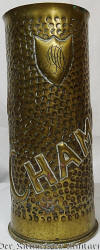 GERMAN 77mm ARTILLERY SHELL CASING TRENCH ART VASE COMMEMORATING 1917 BATTLE OF CHAMPAGNE - Imperial German Military Antiques Sale
