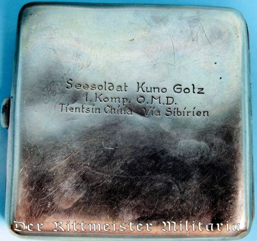 CHINA COLONIAL - CIGARETTE CASE - SILVER - CHINA SEA-SOLDIER'S - Imperial German Military Antiques Sale