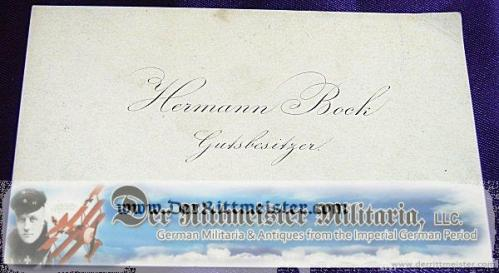 GERMANY - CALLING CARD - HERMANN BOCK - GUTSBESITZER - Imperial German Military Antiques Sale