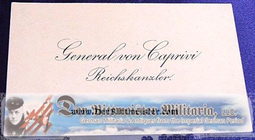 GERMANY - CALLING CARD - GENERAL von CAPRINI - REICHSKANZLER - Imperial German Military Antiques Sale