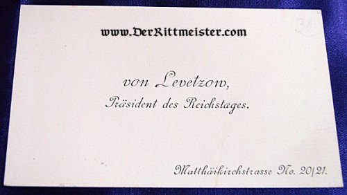 GERMANY - CALLING CARD - PRÄSIDENT des REICHSTAGES von LEVETZOW - Imperial German Military Antiques Sale