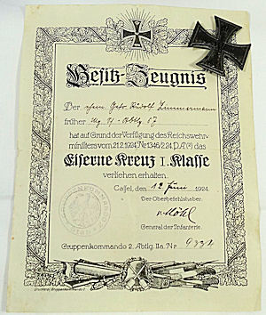 GERMANY - POST WW I IRON CROSS 1st CLASS DOCUMENT AND DECORATION - Imperial German Military Antiques Sale
