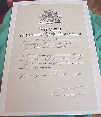 GERMANY - AWARD DOCUMENT FOR THE HAMBURG HANSEATIC CROSS - Imperial German Military Antiques Sale