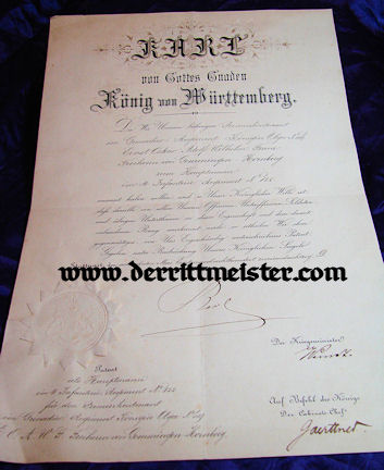 OFFICER'S PROMOTION DOCUMENT - KÖNIG KARL'S SIGNATURE - WÜRTTEMBERG - Imperial German Military Antiques Sale