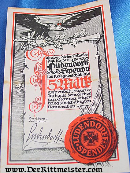 GERMANY - DOCUMENT - LUDENDORFF SPENDE - Imperial German Military Antiques Sale