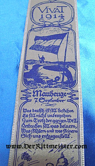 VIVAT RIBBON THE CAPTURE OF THE FRENCH FORT AT MAUBEUGE - Imperial German Military Antiques Sale