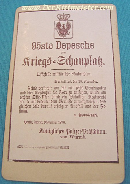 PRUSSIA - CARD ALBUM - KRIEGS-DESPESCHEN 1870 & 71 - Imperial German Military Antiques Sale