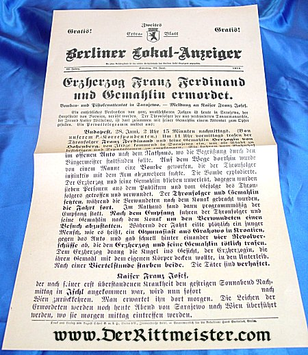 GERMANY - NEWSPAPER - ASSASSINATION - AUSTRIAN ARCHDUKE FRANZ-FERDINAND - Imperial German Military Antiques Sale