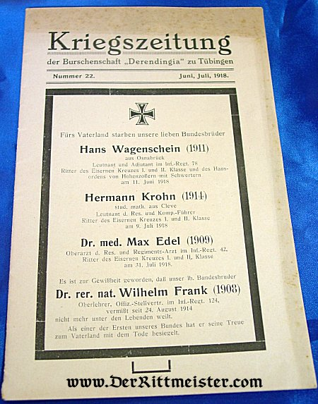 GERMANY - MAGAZINE - KRIEGSZEITUNG - JUNE/JULY 1918 - Imperial German Military Antiques Sale