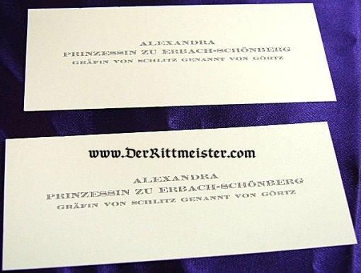 PRUSSIA - CALLING CARD - ALEXANDRA PRINZESSIN zu ERBACH-SCHÖNBERG - GRÄFIN von SCHLITZ GENANNT von GÖRTZ - Imperial German Military Antiques Sale
