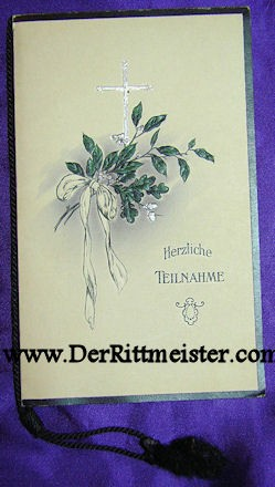 GERMANY - MEMORIAL CARD - Imperial German Military Antiques Sale