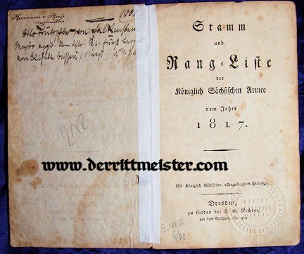 SAXONY - RANGELISTE - 1817 - Imperial German Military Antiques Sale