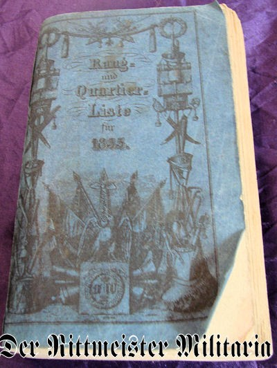 PRUSSIA - RANGLISTE - 1835 - RANG und QUARTIER=LISTE - Imperial German Military Antiques Sale