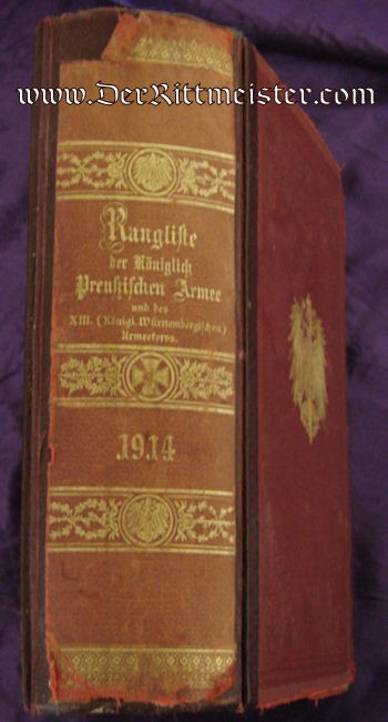 PRUSSIA - RANGLISTE - 1914 - Imperial German Military Antiques Sale