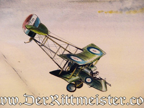 JACK D. HUNTER - ORIGINAL PAINTING - FEATURING ENGLISH DH 2 SHOOTING DOWN FOKKER E III (EINDECKER) - Imperial German Military Antiques Sale