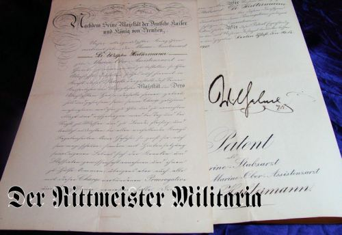 TWO OFFICER PATENTS - ONE OF WHICH IS SIGNED BY KAISER WILHELM II FOR A DOCTOR SERVING IN THE KAISERLICHE MARINE - Imperial German Military Antiques Sale