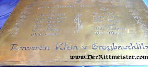 GERMANY - METAL MEMORIAL PLAQUE - ATHLETIC SOCIETY - WORLD WAR I - Imperial German Military Antiques Sale