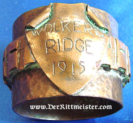 """GERMANY - NAPKIN RING - TRENCH ART -  """"WALKER RIDGE 1915"""" - Imperial German Military Antiques Sale"""