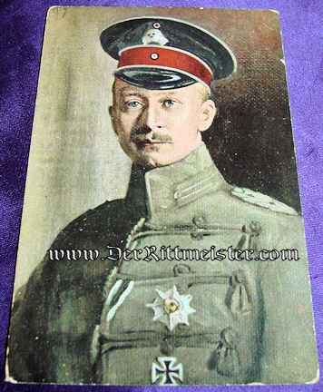 COLOR POSTCARD - KRONPRINZ WILHELM - FELDGRAU UNIFORM - TOTENKOPF REGIMENT - Imperial German Military Antiques Sale