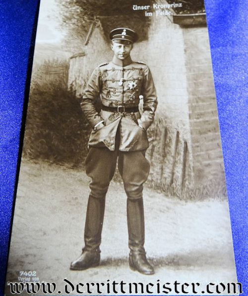 POSTCARD - KRONPRINZ WILHELM IN FELDGRAU HUSSAR UNIFORM - Imperial German Military Antiques Sale
