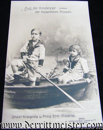 POSTCARD - KRONPRINZ WILHELM AND PRINZ EITEL FRIEDRICH AS YOUNG BOYS - Imperial German Military Antiques Sale