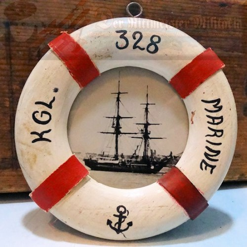 FRAMED PHOTO - NAVAL TRAINING SHIP - LIFE PRESERVER SHAPED