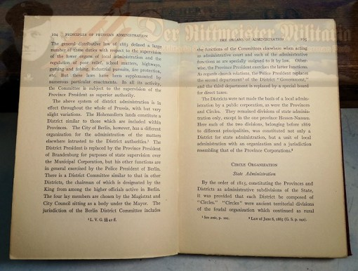 GERMANY - BOOK - PRINCIPLES OF PRUSSIAN ADMINISTRATION BY HERMAN GERLACH JAMES, PHD AUTOGRAPHED BY THE AUTHOR - Imperial German Military Antiques Sale