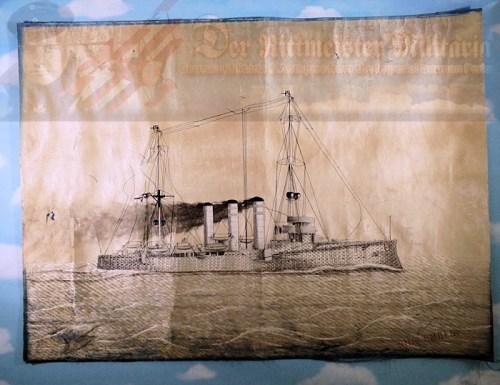 CHINA COLONIAL - PAINTING - S.M.S. EMDEN - ENHANCED SILK THREAD - Imperial German Military Antiques Sale