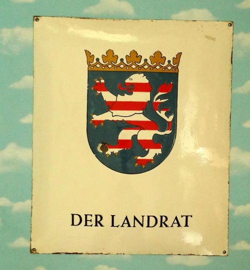 HESSE-DARMSTADT - METAL DISTRICT ADMINISTRATOR'S SIGN - Imperial German Military Antiques Sale