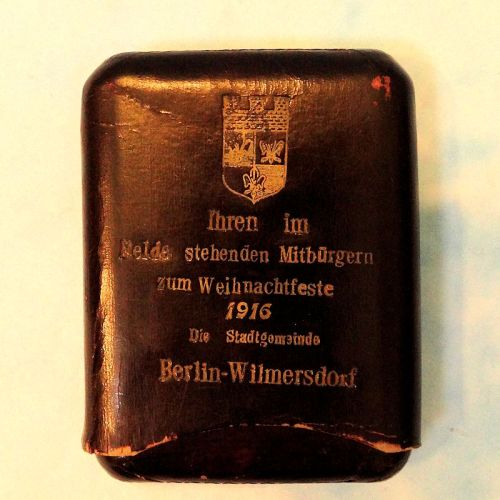 GERMANY - CIGAR CASE - PATRIOTIC CELEBRATING CHRISTMAS 1916 IN BERLIN-WILMERSDORF. - Imperial German Military Antiques Sale