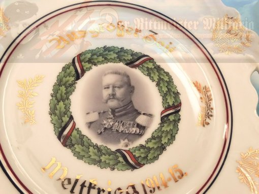 GERMANY - PLATE - PATRIOTIC FEATURING GENERALFELDMARSCHALL PAUL VON HINDENBURG - Imperial German Military Antiques Sale