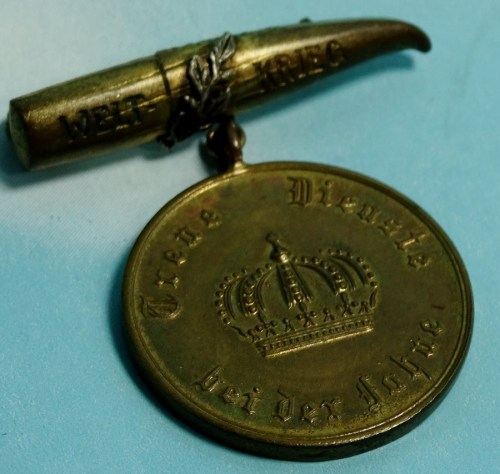 GERMANY - PATRIOTIC PIN - TRENCH ART 12 - YEAR LONG - SERVICE DECORATION - Imperial German Military Antiques Sale