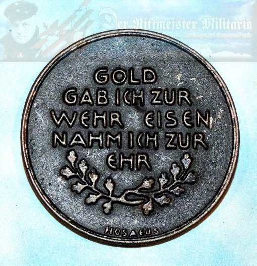 "GERMANY - TABLE MEDAL - ""GOLD FOR IRON"" - Imperial German Military Antiques Sale"