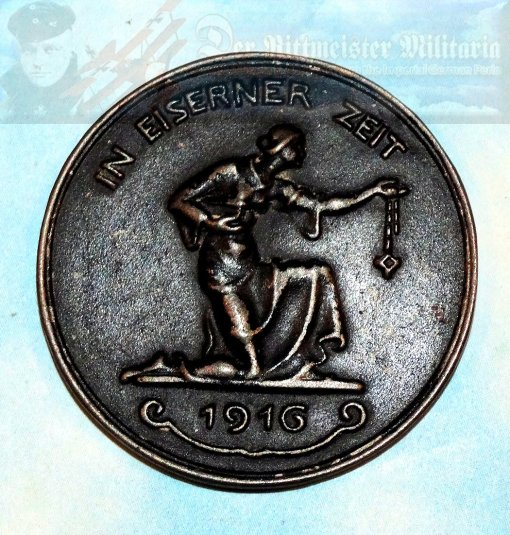 """GERMANY - TABLE MEDAL - """"GOLD FOR IRON"""" - Imperial German Military Antiques Sale"""