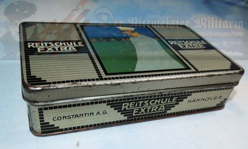 CIGARETTE TIN - CONSTANTIN BRAND - REITSCHULE EXTRA - FIFTY CIGARETTES