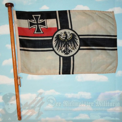 FLAG - KRIEGSFLAGGE - KAISERLICHE MARINE SHIP WITH A PARTIAL FLAGSTAFF
