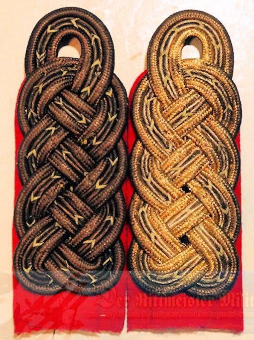 PRUSSIA - SHOULDER BOARDS (2) - GENERALMAJOR ZU DISPOSITION - ONE PRE WAR & ONE M-1915 SUBDUED FELDGRAU