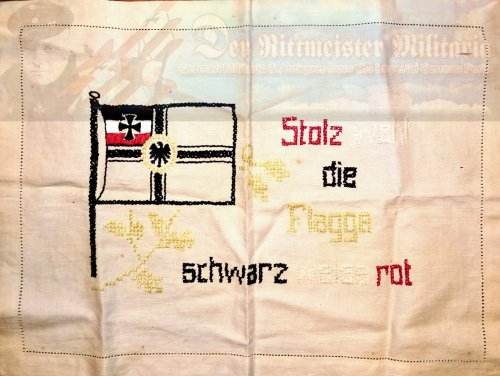GERMANY - KRIEGSFLAGGE-DECORATED TABLE SCARF/PILLOWCASE/ DISPLAY ITEM - Imperial German Military Antiques Sale