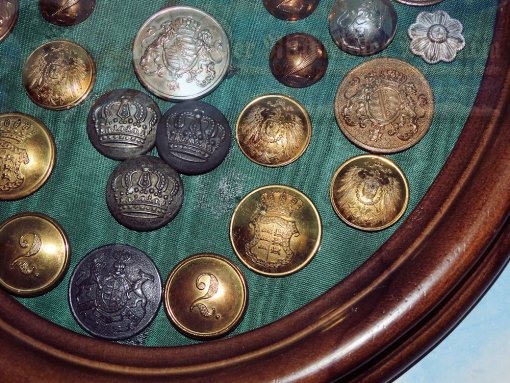 GERMANY - WALL DECOR - BUTTON AND KOKARDEN COLLECTION - PRUSSIA, BADEN, WÜRTTEMBERG, ETC. - FRAMED DISPLAY - Imperial German Military Antiques Sale