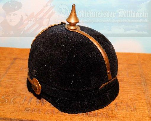 BAVARIA - JEWELRY OR KEEPSAKE BOX - MINIATURE PICKELHAUBE - Imperial German Military Antiques Sale