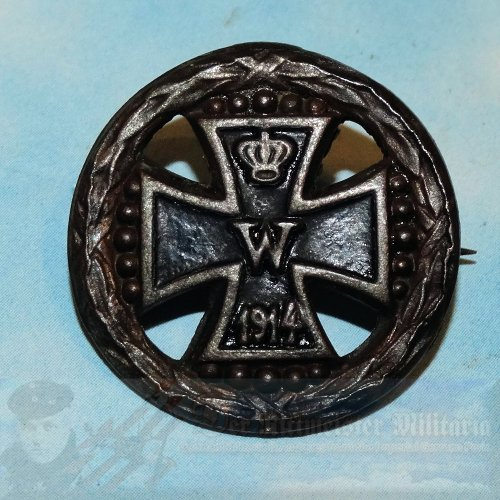 GERMANY - PATRIOTIC PIN - MOURNING - 1914 IRON CROSS