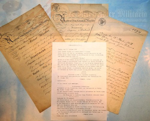 PRUSSIA - DOCUMENT GROUPING - OFFICER PROMOTION PATENTS - ONE OF WHICH WAS SIGNED BY KING WILHELM I - ROBERT WISCHER - Imperial German Military Antiques Sale