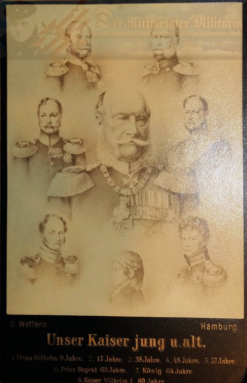 GERMANY - CABINET PHOTOGRAPH - KAISER WILHELM I AT DIFFERENT AGES - Imperial German Military Antiques Sale