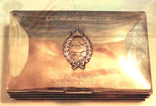 GERMANY - CIGARETTE/CIGAR BOX - WITH PRINZENGROßE ARMY PILOT BADGE - SILVER HALLMARKED - JASTA 11 - LEUTNANT DER RESERVE HANS HINTSCH