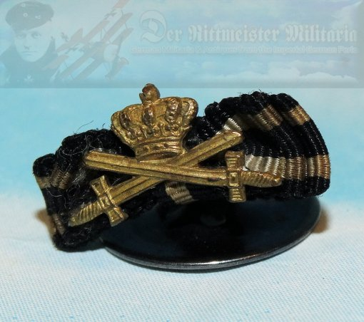 PRUSSIA - BOUTONNIERE - KNIGHTS CROSS WITH SWORDS OF THE HOHENZOLLERN HOUSE ORDER AND THE 1914 IRON CROSS 1ST CLASS - Imperial German Military Antiques Sale