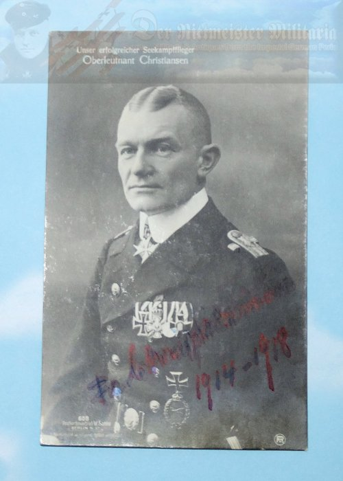 This Sanke Card Nr 608 is of Oberleutnant Friedrich Christiansen.  Christiansen was one of three Naval aviators to be awarded the Pour le Mérite.