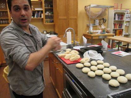 Bobby rolling dough